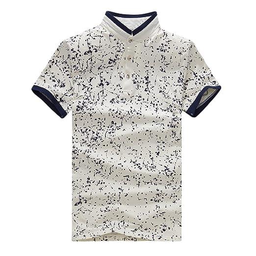 8d7e90f19f Sheng Xi Men's Floral Print Stand Collar Short-Sleeve Polo Shirt ...