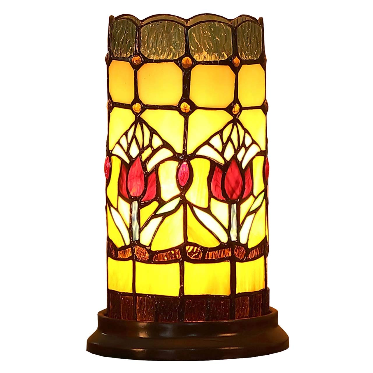 Bieye L10648 Tulip Flower Tiffany Style Stained Glass Mini Table Lamp Night Light with 5-inch Wide Lampshade for Bedside Bedroom Living Room, 10 inches Tall