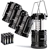 Vont 4 Pack LED Camping Lantern, LED Lanterns, Suitable Survival Kits for Hurricane, Emergency Light for Storm, Outages…
