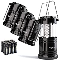 4 Pack LED Camping Lantern, Survival Kit for Hurricane, Emergency, Storm, Outages, Outdoor Portable Lantern, Black…