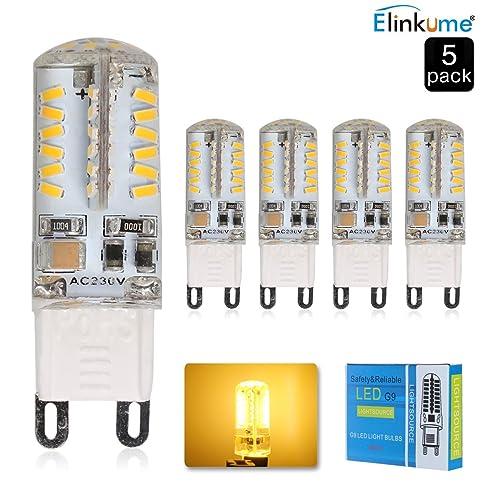 ELINKUME 5er Pack Dimmbar G9 LED Lampen Warmweiß 4W 58Pcs SMD 3014 LED  Leuchtmittel 320