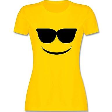 Karneval Fasching Sonnenbrillen Emoji Karneval Damen T Shirt