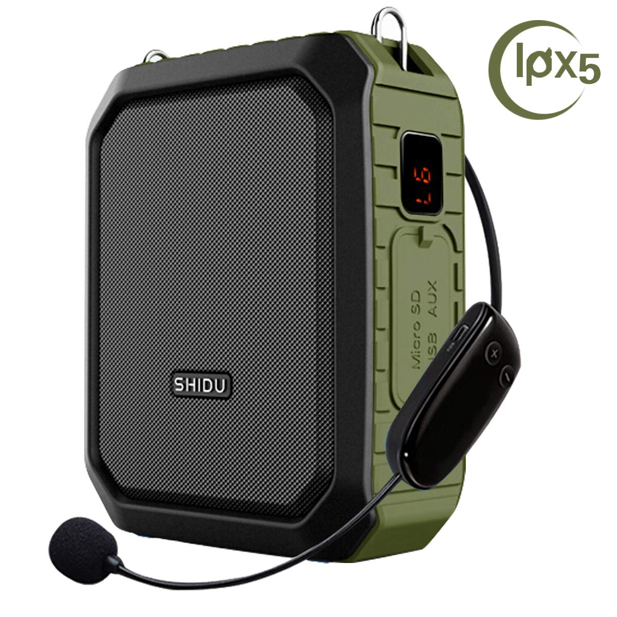 Wireless Voice Amplifier with Headset Mic 18W Voice Loudspeaker Portable Bluetooth Speaker Waterproof IPX5 Power Bank for Outdoor Activities, Shower, Teachers, Presenter, Salesman etc by EnHong Technology