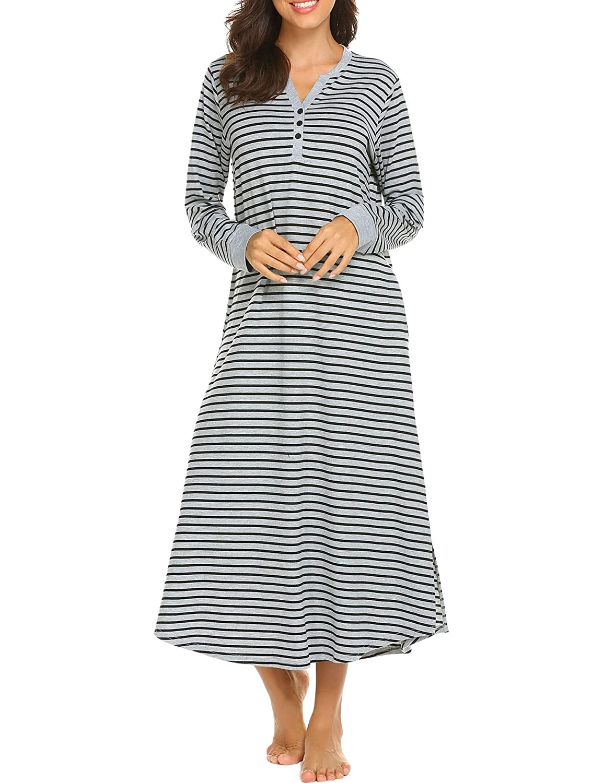 72bec08510b3f8 Skione Nachthemd Damen Lang Baumwolle Streifen Knopfleiste V-Ausschnitt  Nachtwäsche Bodenlang Jersey mit Taschen ...