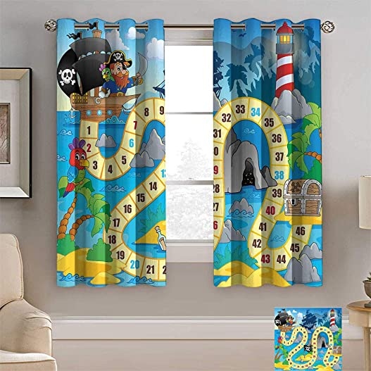 Yaliaprint Board Game Curtains, Ghost Ship with Pirates Lighthouse Tropical Island Waters Buccaneer Ocean Palms Window Coverings for Bedroom 2 Panels Set, Each Panel 54 W x 84 L Multicolor