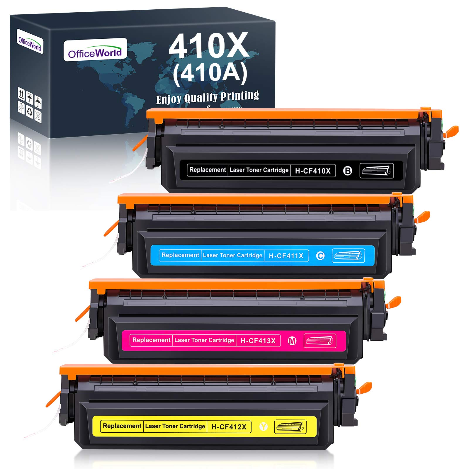 OfficeWorld 410X Toner Replacement for HP 410X 410A CF410X CF410A Toner for Use with HP Color Laserjet Pro MFP-M477fdw M477fdn M477fnw M452dn M452nw M452dw M377dw M477 M452
