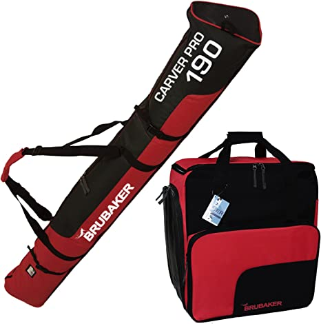 BRUBAKER Ski Bag CARVER PRO for one Pair of Ski and Poles Black or Red 2 Lengths