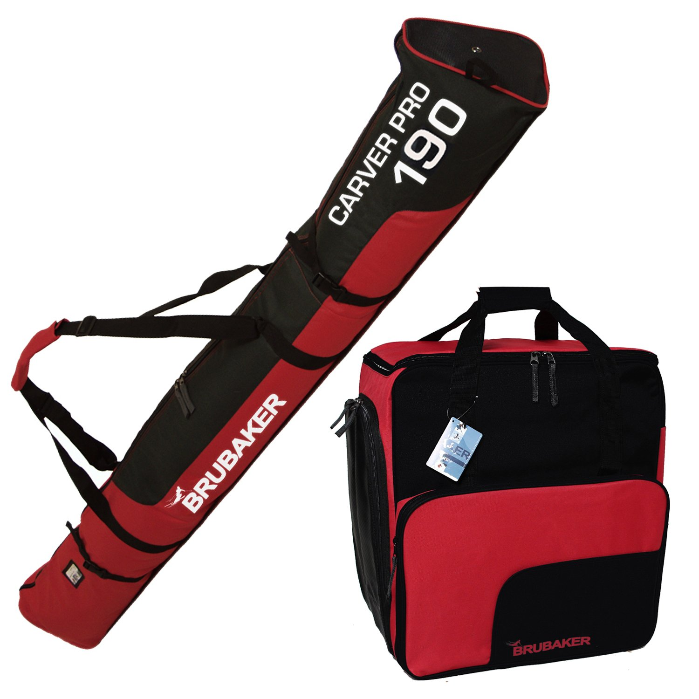 Brubaker–Vajilla (Saco de esquí y Botas de esquí Funda para 1par de esquís hasta 190cm + Bastones + Guantes + Casco Negro Rojo
