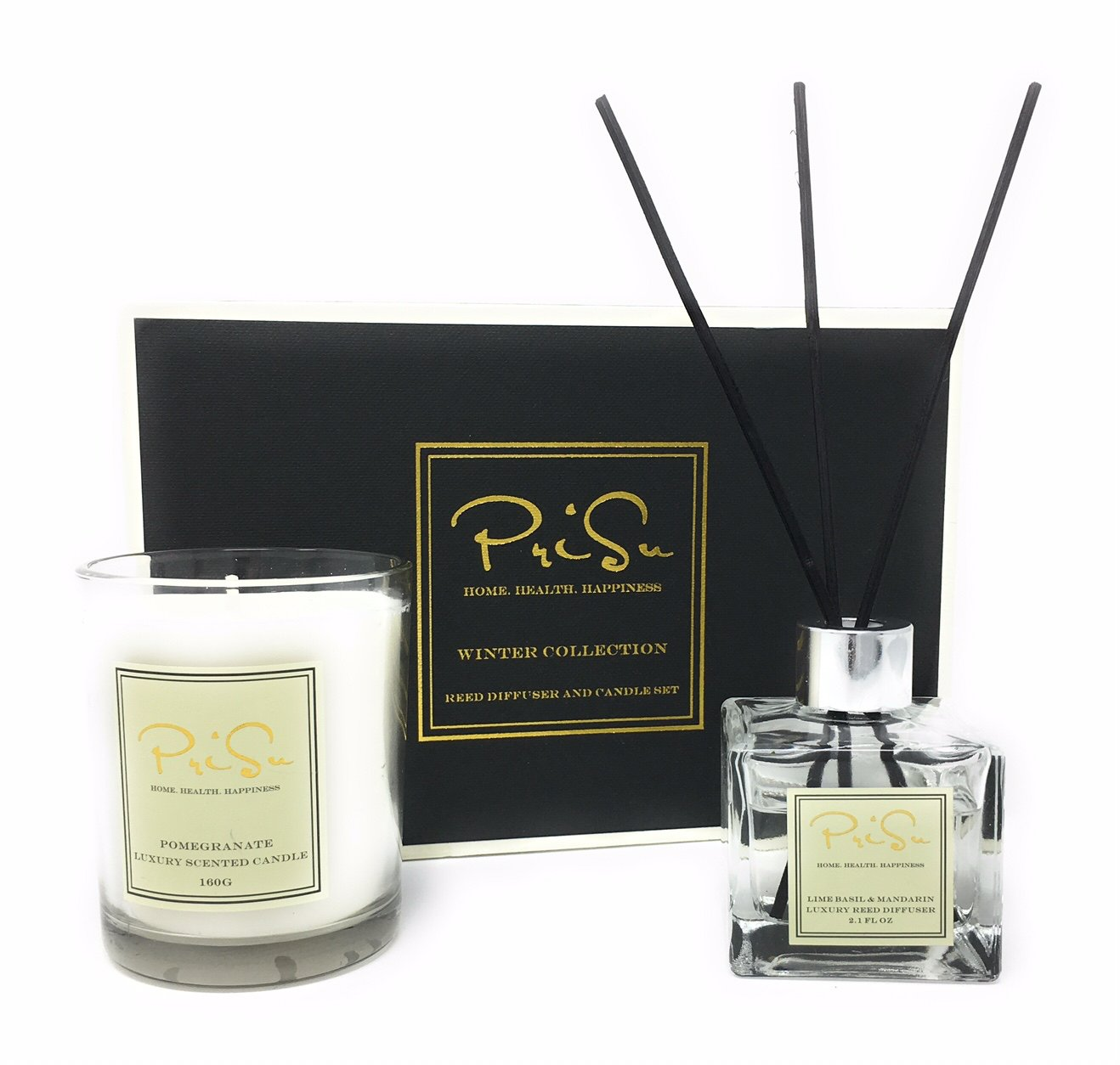 PriSu Special Edition Gift Set - Lime Basil & Mandarin Scented Essential Oil Reed Diffuser (2.1 fl oz) and Pomegranate Scented 100% Soy Wax Candle (5.6 oz)