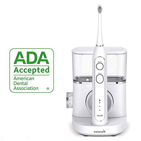 Waterpik Electric Toothbrush Water Flosser Combo In One Waterpik Sonic-Fusion Professional Flossing Toothbrush, SF-02 White