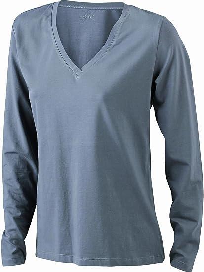 5f2323b4c32653 James   Nicholson Damen T-Shirt Langarmshirt Ladies Stretch V Shirt ...