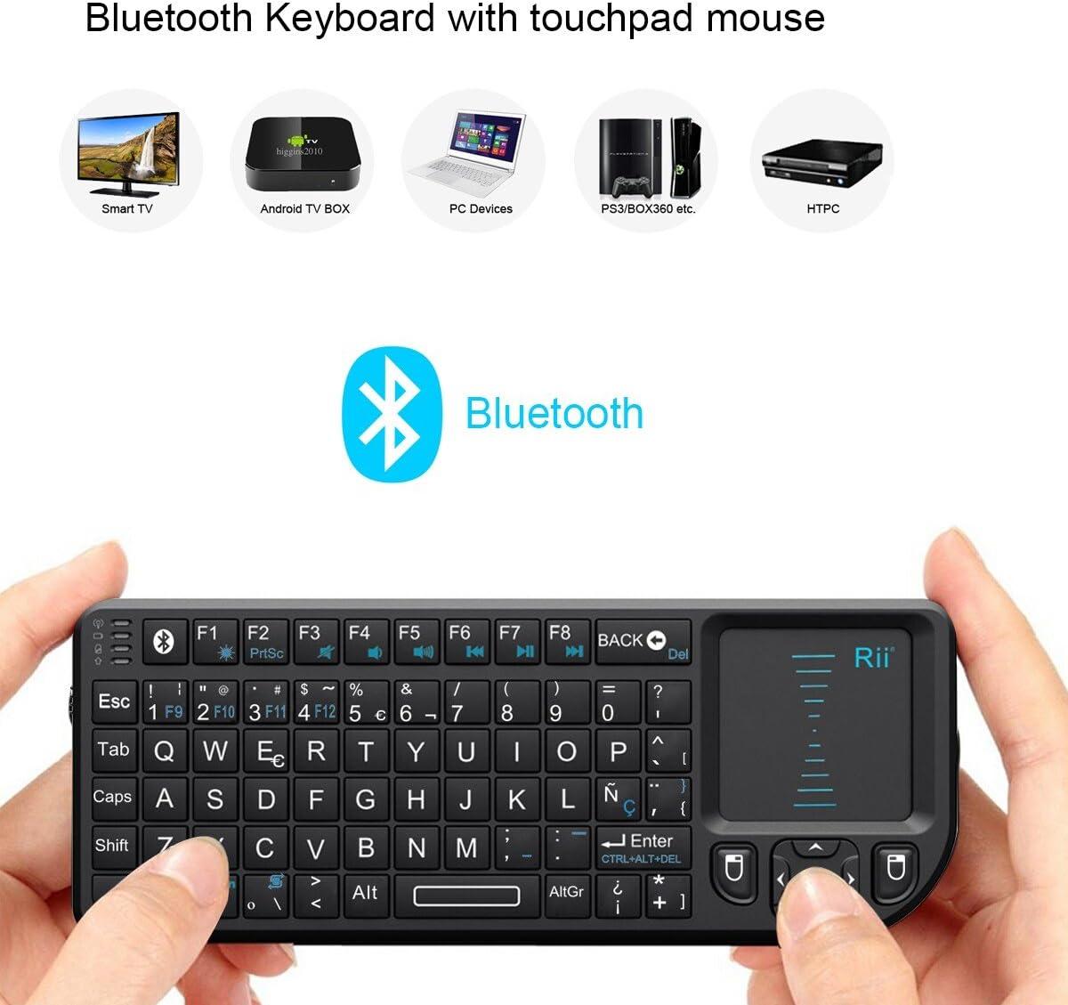 Rii Rt-Mwk02+ - Teclado Táctil (Bluetooth, con Puntero Láser, Compatible con Ios y Nokia Symbian S60) - Qwerty Español: Amazon.es: Informática