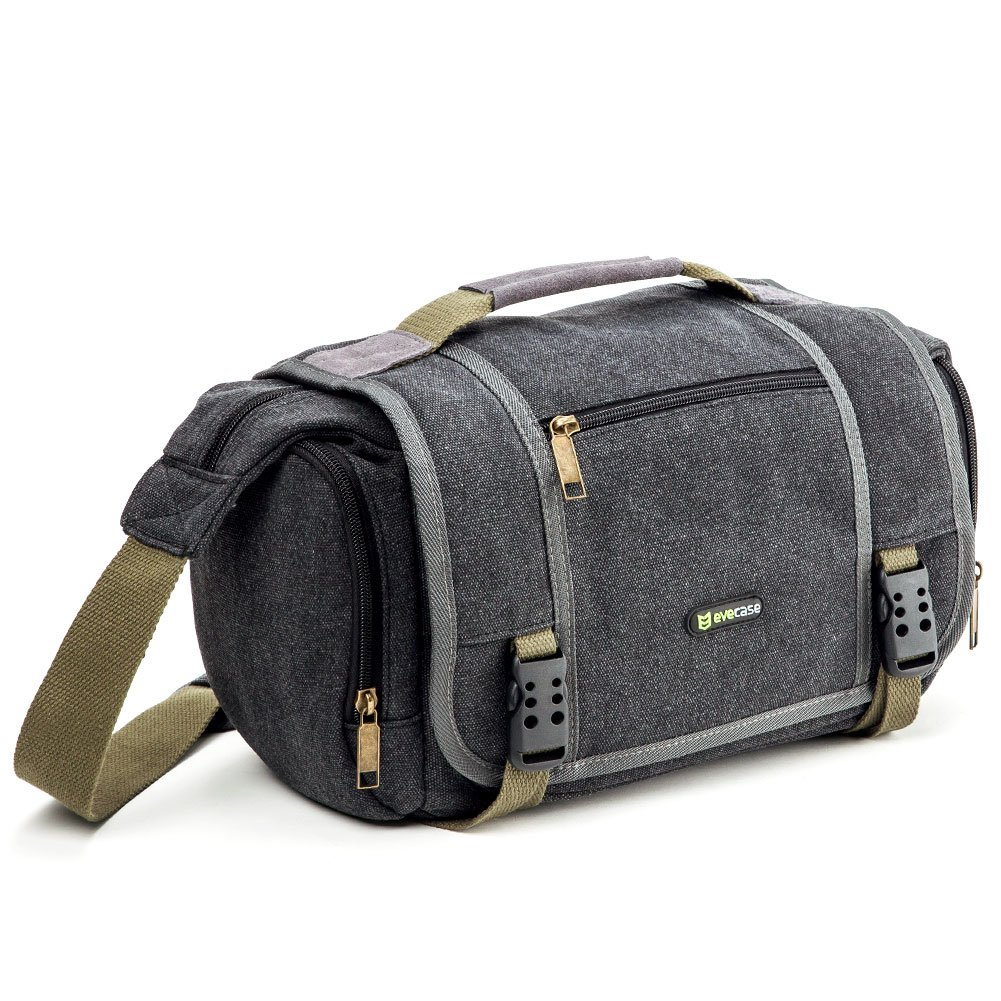 Evecase Large Vintage Canvas Messenger SLR Camera case bag with Shoulder Strap for Canon Nikon Sony Panasonic FujiFilm Olympus Pentax and more DSLR Camera- Gray 885157934817
