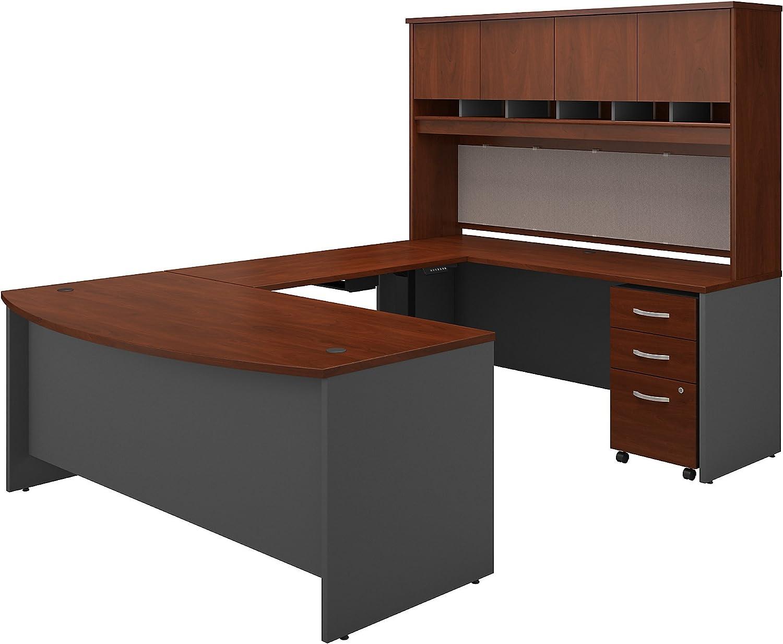 Bush Business Furniture Series C 72W U Shaped Desk with Height Adjustable Bridge, Hutch and Storage in Hansen Cherry