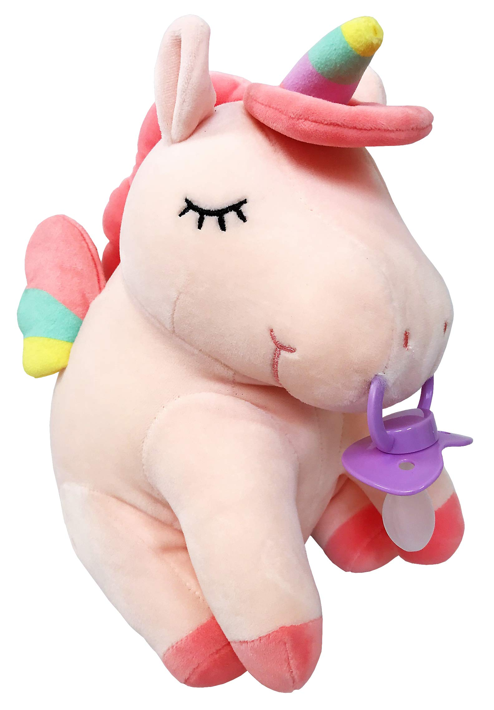Envy Body Shop Adult Pacifier Stuffie Animal Plush Kiss The Unicorn Pacifier Holder (Pink)