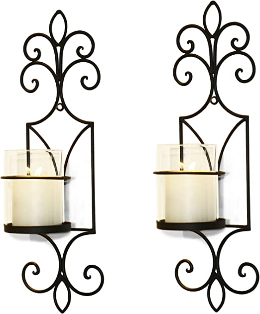 Scrolled Metal Vertical One Wall Sconce Candle Votive Holder Accent Wall Art