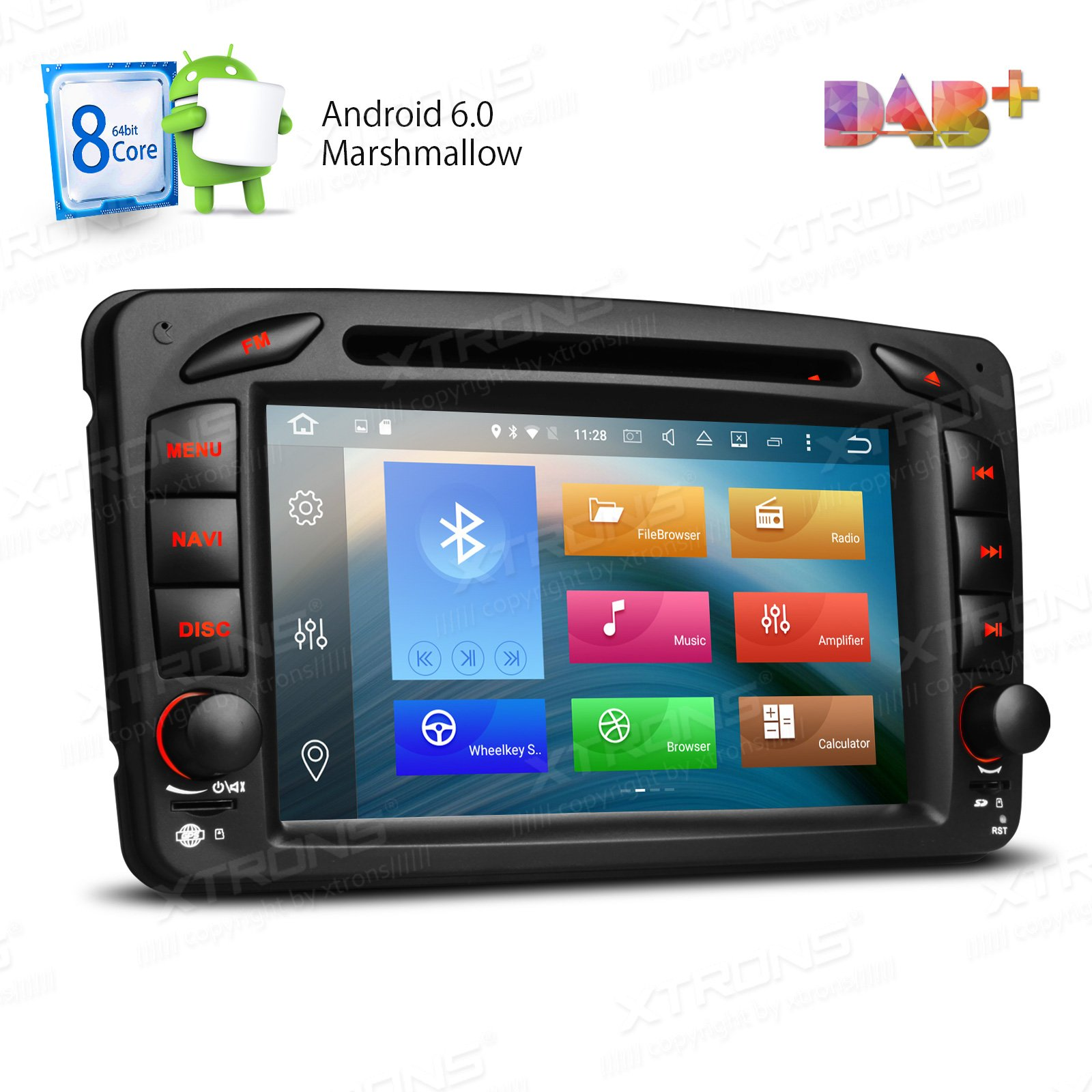 XTRONS Android 6.0 Octa-Core 64Bit 7 Inch Capacitive Touch Screen Car Stereo Radio DVD Player GPS CANbus Screen Mirroring Function OBD2 Tire Pressure Monitoring for Mercedes Benz W203 W209 W463 by XTRONS (Image #1)