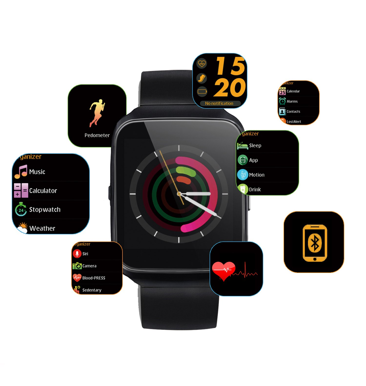 CDSDG Waterproof Smart watch as Sports Bracelet with colorful display to connect with Android/iOS phones by bluetooth.Smart Band with activity tracker and fitness tracker.  Heartrate, blood pressure a