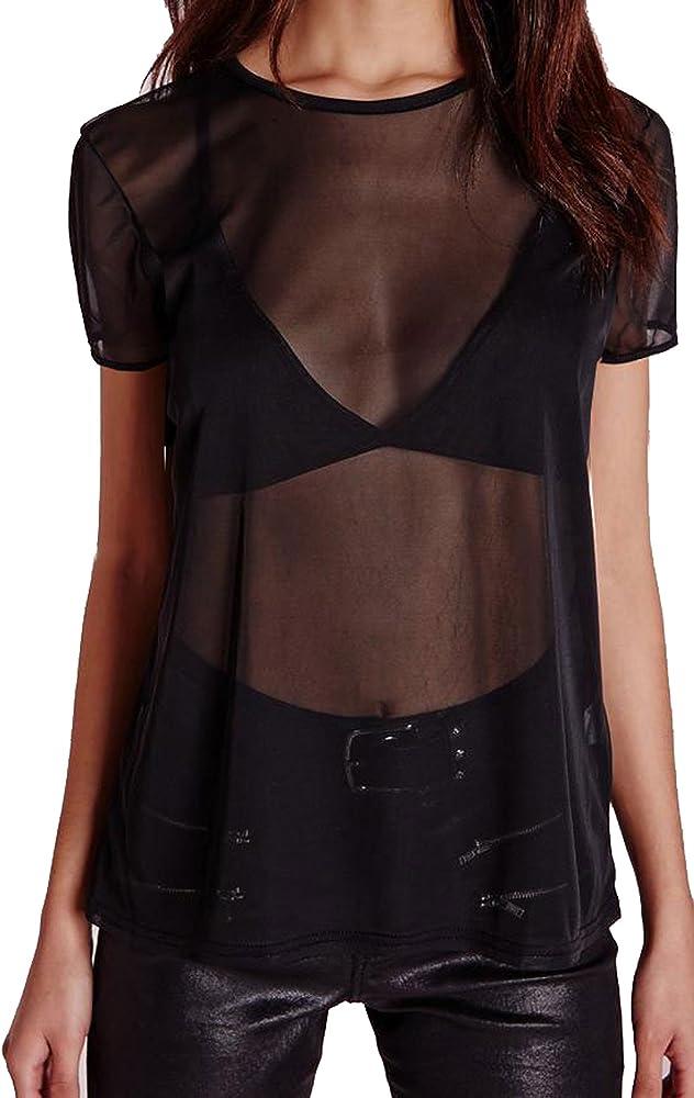 Camiseta Ancha de Manga Corta para Mujer - Malla Transparente - Color Liso - Negro - UK 14/EU 42: Amazon.es: Ropa y accesorios