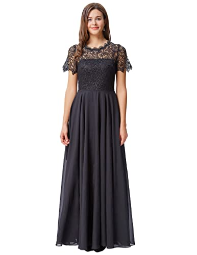 Kate Kasin Women's Lace Bodice Chiffon Evening Maxi Dress with Short Sleeve