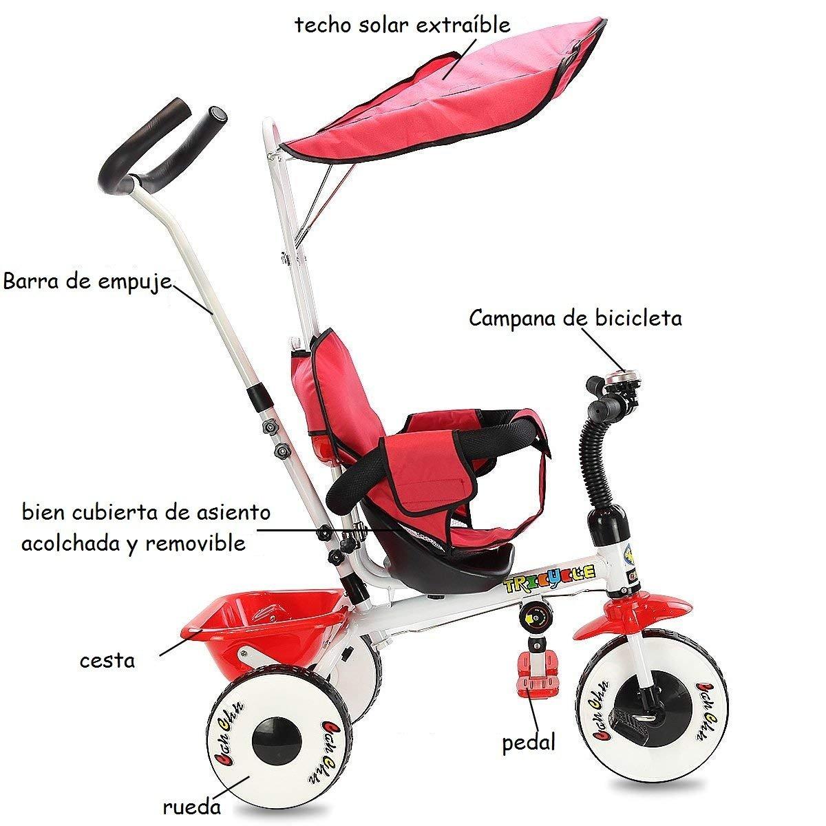 COSTWAY 4 en 1 Triciclo para Niños Infantil Carrito con Sillín Techo Solar Desmontable con Rueda (Rojo): Amazon.es: Juguetes y juegos