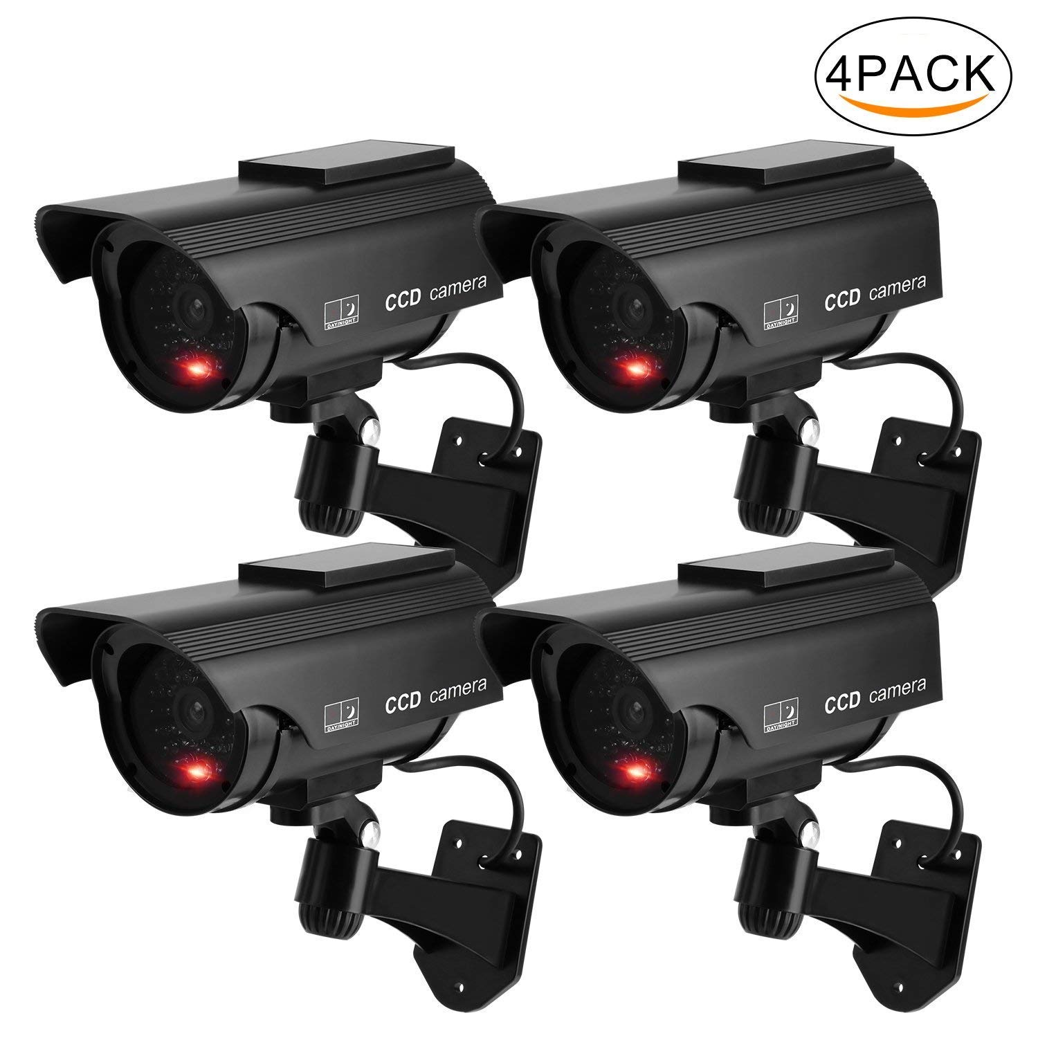 Z&HA Solar Virtual Surveillance Camera/Outdoor False Camera,Simulating A Home Security CCTV Camera,Waterproof/with LED Flashing Light for Family and Business,4Packs