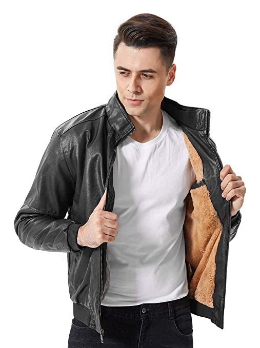 sunseen Mens Faux Leather Jackets Stand Collar Fur Lined Coat Spring Winter Biker Motorcycle Bomber Jacket Outerwear at Amazon Mens Clothing store: