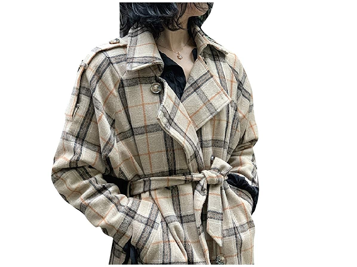 Comaba Women Houndstooth Plaid Parka Jackets Classics Belted Worsted Coat
