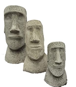 SET OF 3 EASTER ISLAND HEADS STATUES GARDEN ORNAMENTS STONE