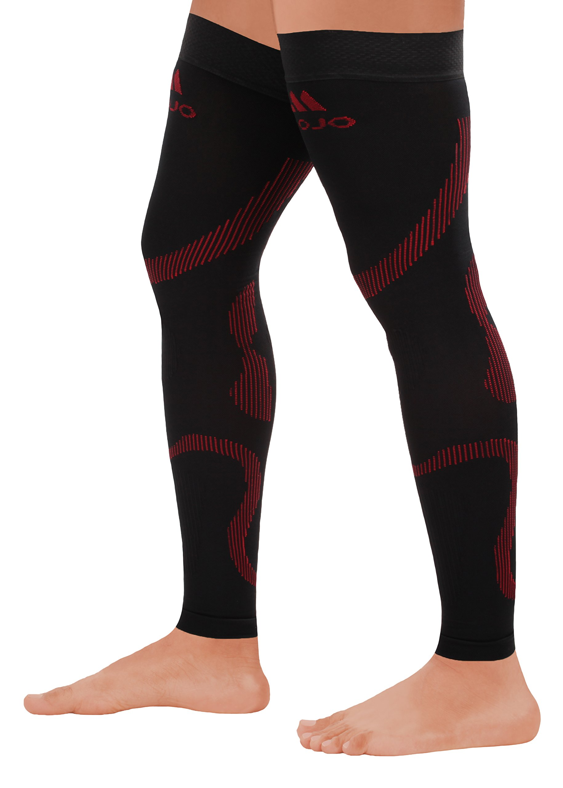 MoJo Sports XXL Full Leg Support & Recovery Compression Thigh Sleeve - Treat Hamstring and Quad Injuries - Hamstring Compression Sleeve - Running Compression Thigh Sleeve (2XL, Black Red)
