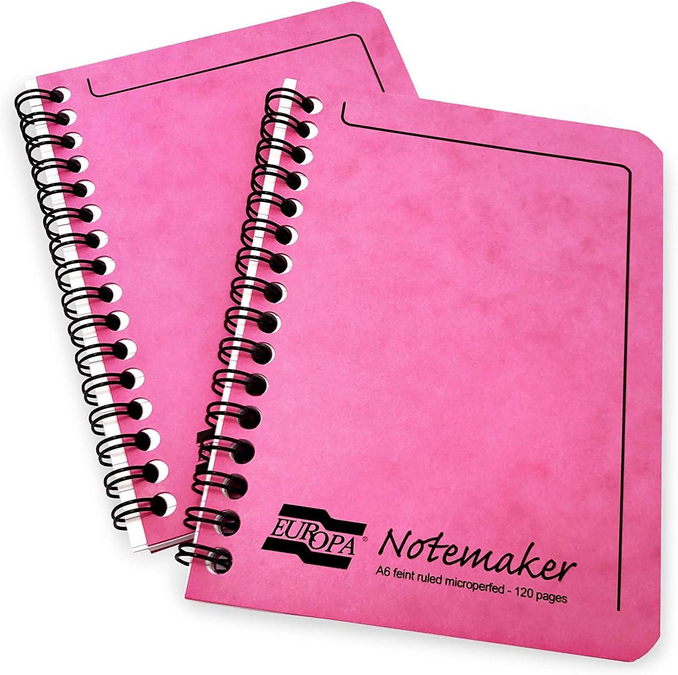 Clairefontaine Europa Cuaderno de Notas Notebook - A6-90gsm-120 Rayado Páginas - Cubierta Rosa - Pack de 2: Amazon.es: Oficina y papelería