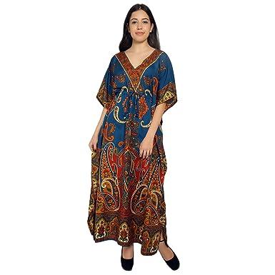d2434df9269 Paisley Imprimer Kaftan longue robe Maxi Womans Summer vacances plage  caftan - bleu