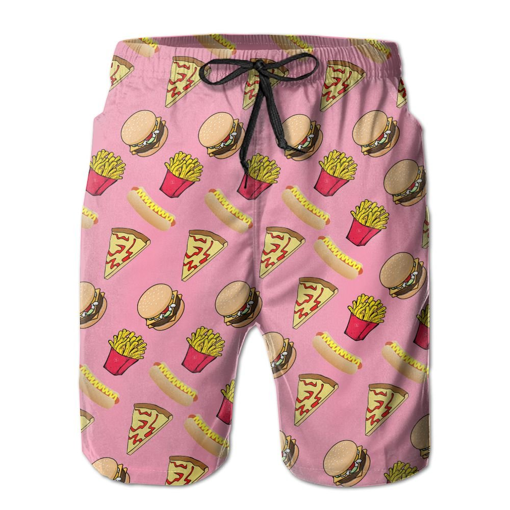 Men Pizza Burger Hotdog French Fries Quick-Dry Lightweight Fashion Board Shorts Swim Trunks M by COOA