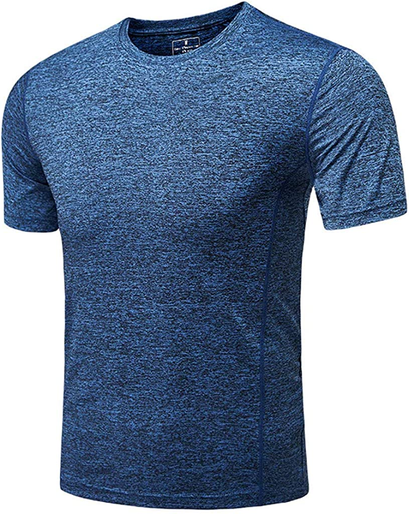 Mens T-Shirt Fast-Dry Short Sleeve Tee Crew Neck Fitness Athletic Shirt Breathable Slim Fit Top