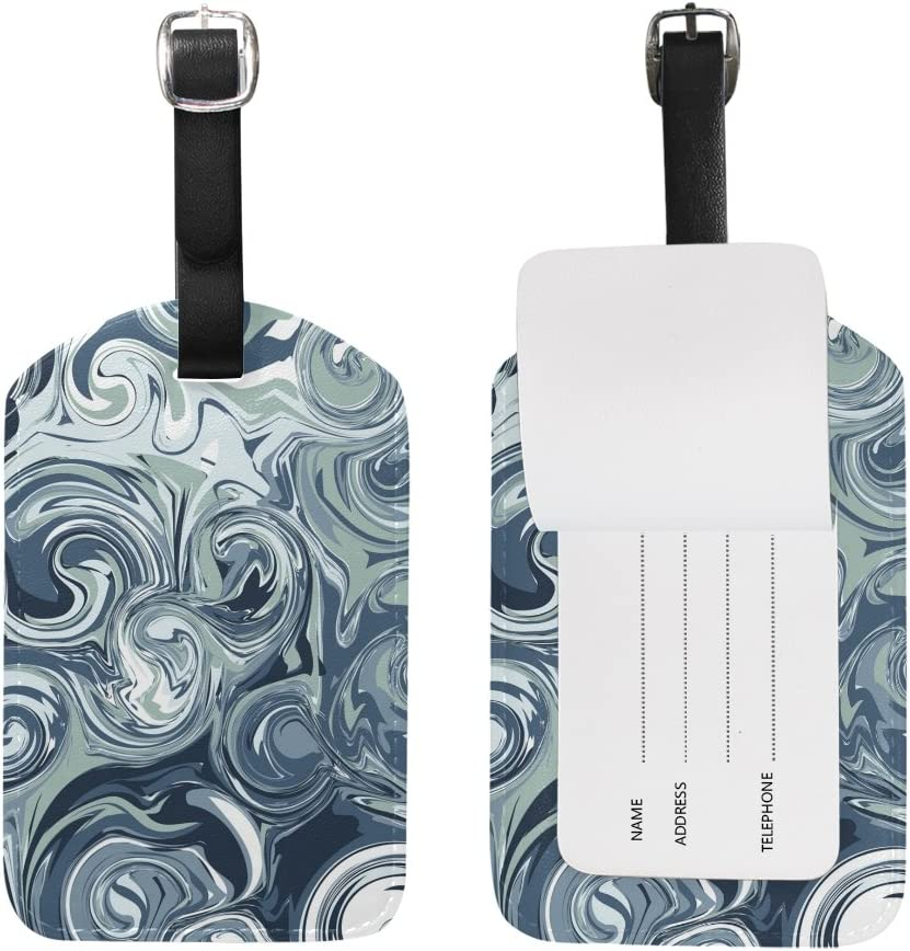 Blue Viper Marble Background Gray PU Leather Luggage Tags Personalized