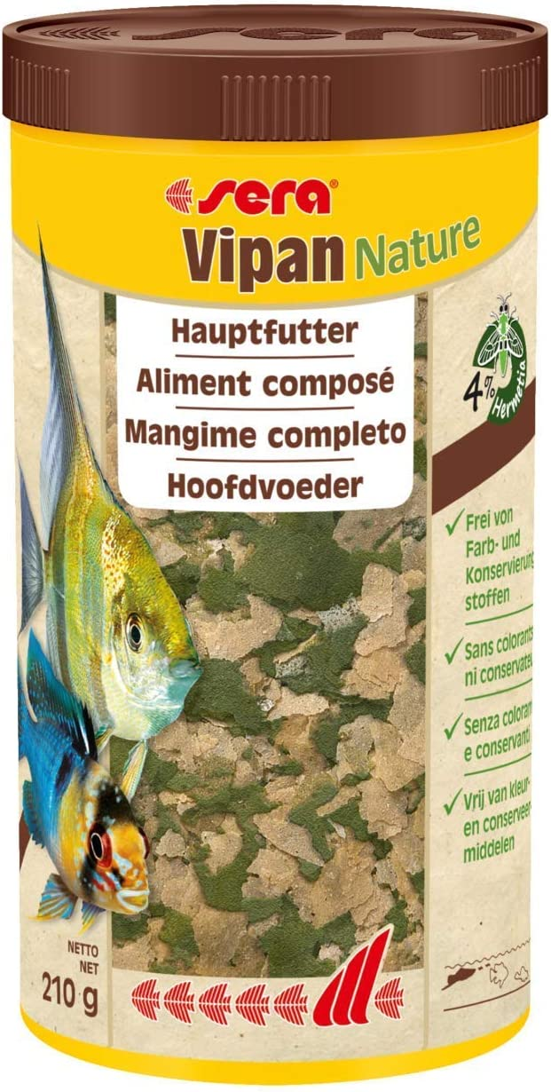 Sera Vipan - Comida en Copos Normales, pienso para Peces Mejorado con Menos Carga del Agua y Algas, el clásico alimento para Todos los Peces Ornamentales en el Acuario
