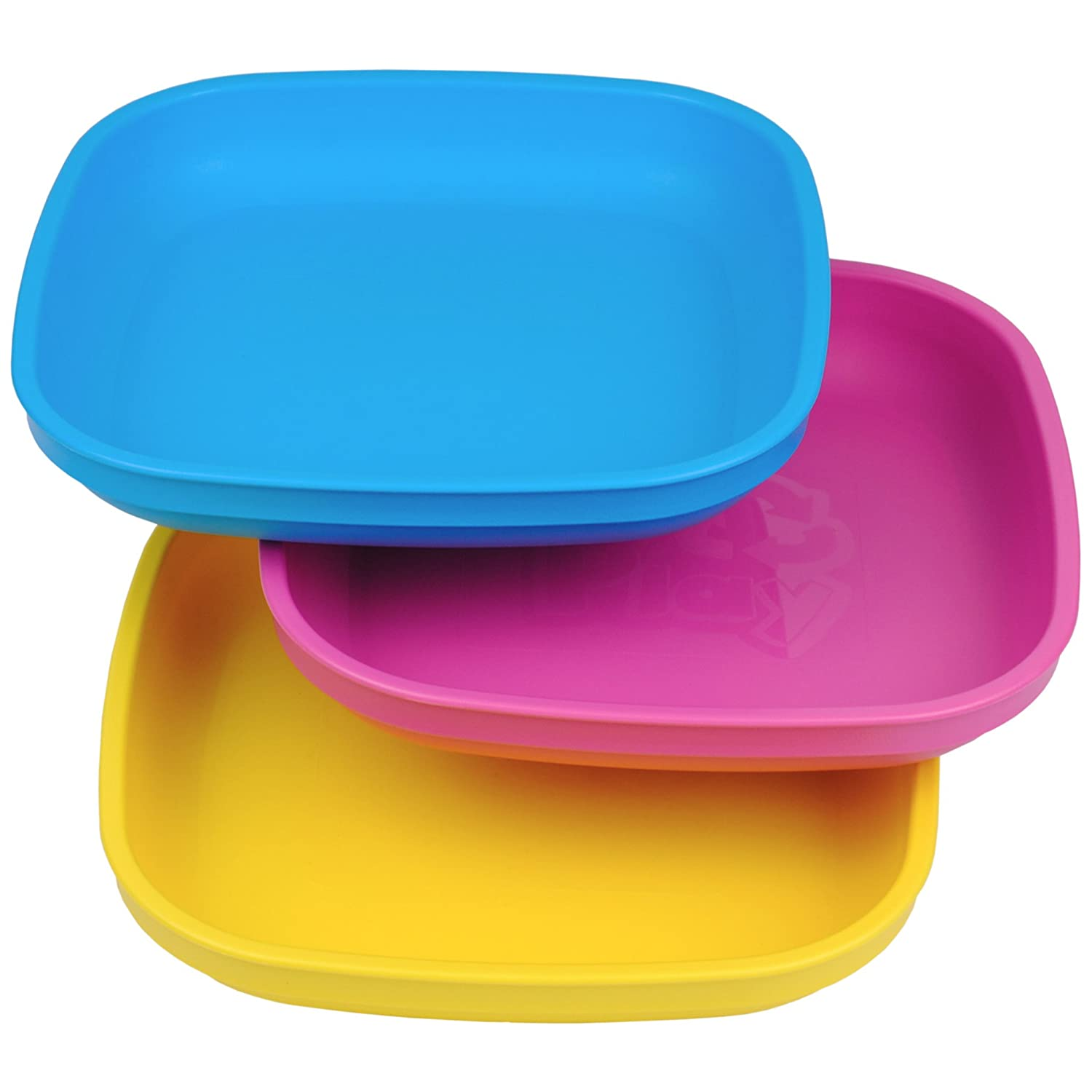 Re-Play Made In USA 3pk Plates with Deep Sides for Easy Baby, Toddler, Child Feeding - Sky Blue, Aqua, Navy Blue (True Blue) Re-Think It Inc.