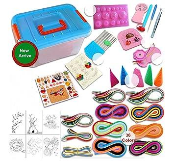 ghong Kits con 9 herramientas para filigranas de papel para filigranas 36 colores 1560 tiras multicolor cartón molde crimpadora entrenador peine DIY Set: ...