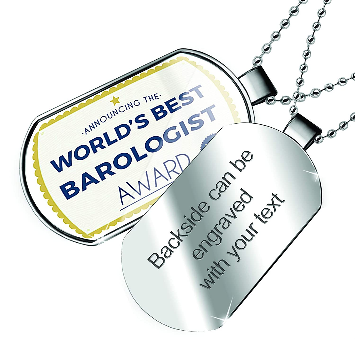NEONBLOND Personalized Name Engraved Worlds Best Barologist Certificate Award Dogtag Necklace