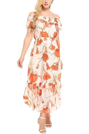 94aa662374d0 Zeagoo Women s Slash Neck Off Shoulder Bohemian Flower Print Maxi Beach  Dress White XL