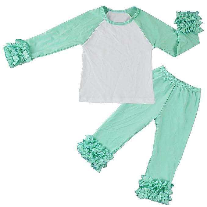 8bf2caf1e Wennikids Children Baby Cotton Icing Ruffle Shirt Ruffle Sleeved Raglan  Pants Set Medium Aqua/White