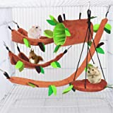 MICOKA 5pcs Hamster Hammock Small Animals Hanging Warm Bed House Cage Nest Accessories Forest Pattern Cage Toy Leaf…