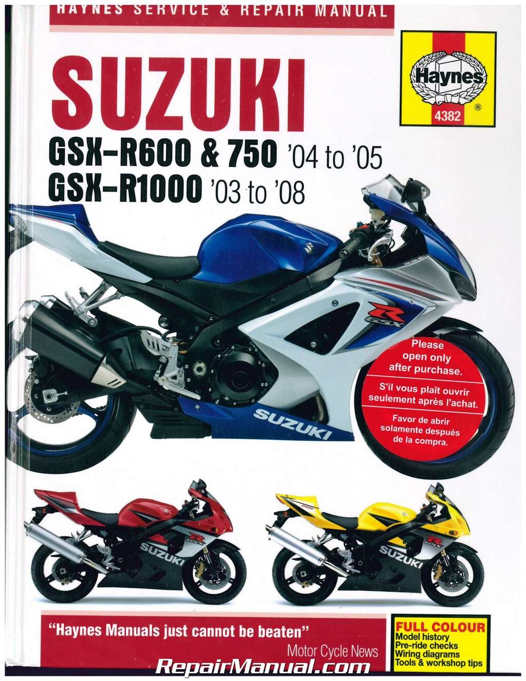 H4382 Suzuki GSX-R600 GSX-R750 2004-2005 GSX-R1000 2003-2008 Haynes  Motorcycle Repair Manual: Manufacturer: Amazon.com: Books