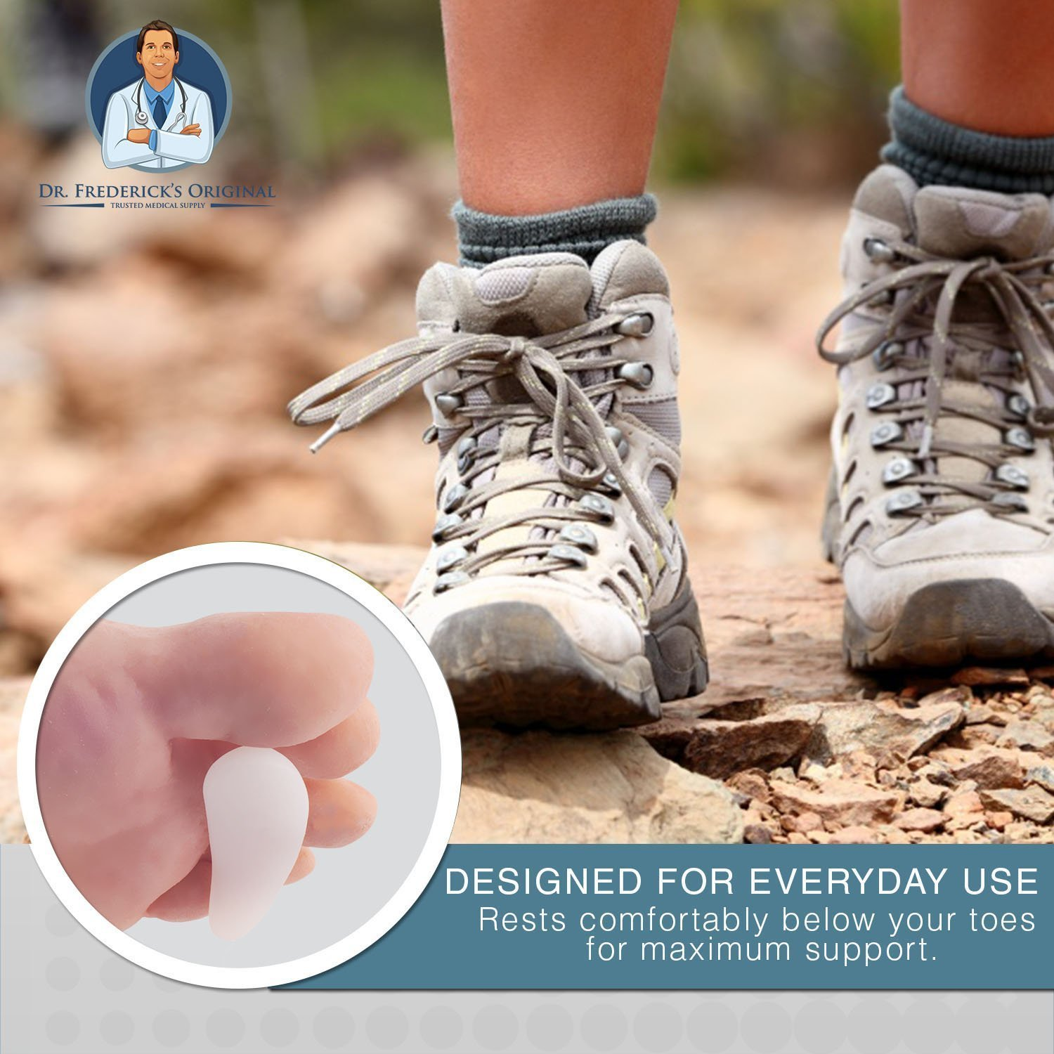 Dr. Frederick's Original Hammer Toe Cushions - 2 Hammertoe Gel Pads - Claw Toe - Temporary Corrector - Great for Diabetic Feet