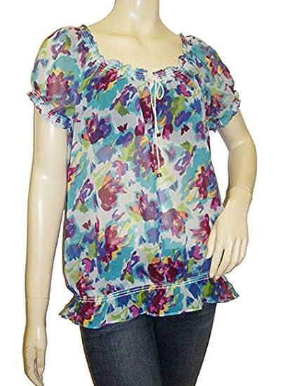 Ex cadena Store Loose Fitting Pastel fantasma Floral impresión blusa gitana Floral Print Talla:12