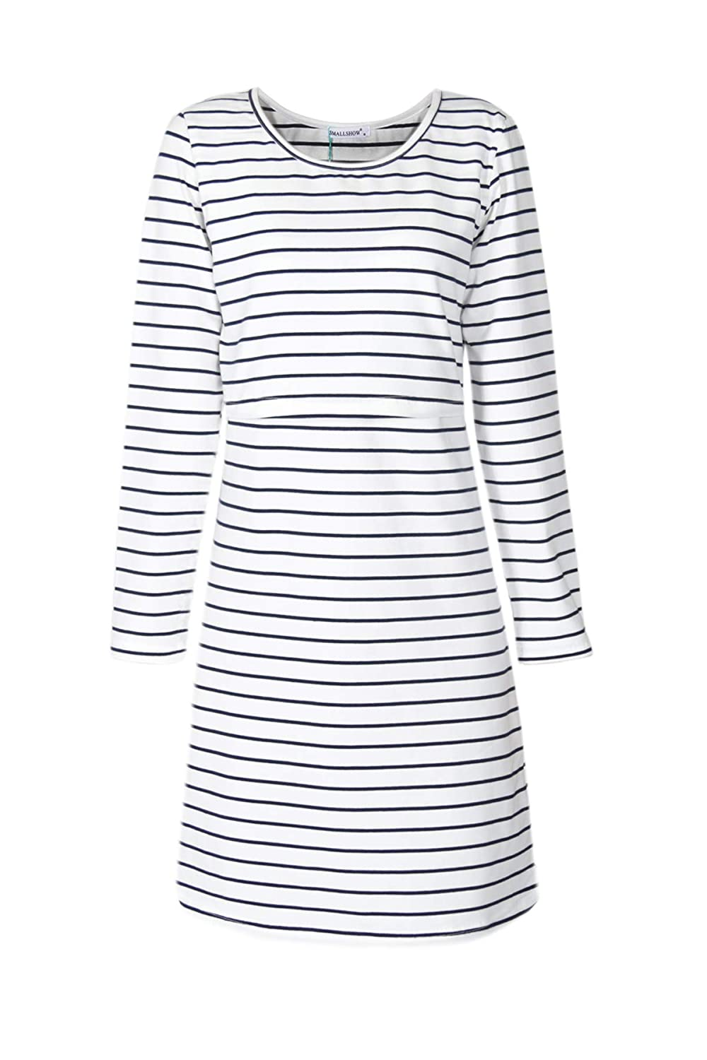 Smallshow Women's Nursing Dress Long Sleeve Stripes Breastfeeding Dresses