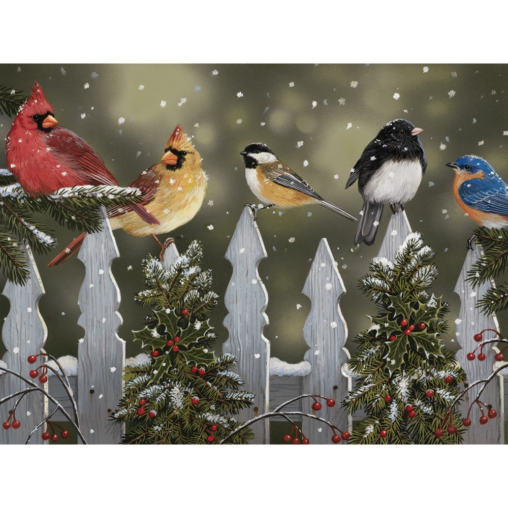 Bits and Pieces  300 Piece Jigsaw Puzzle  Winter Perch, Birds in the Snow  by Artist William Vanderdasson  300 pc Jigsaw