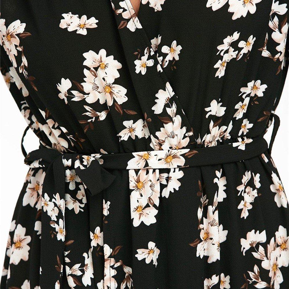 Là Vestmon Vestito lungo da donna manica corta maxi abito da cerimonia con  stampa floreale a boho Vestito da chiffon lungo abito da festa  Amazon.it   ... 25f8a80409b