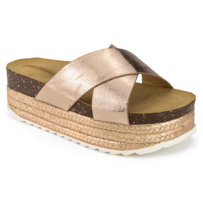RF ROOM OF FASHION Women's Open Toe Espadrille Lug Sole Summer Slip on Platform Footbed Slides Sandals - ZO10 Rosegold (8)