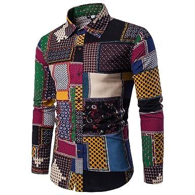 6eebf3939993ec Longay Men s Shirt Plus Size Slim Printing Fit Long Sleeve Casual Button  Shirts Formal Top Blouse